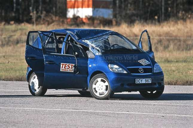 test car with smashed windshield