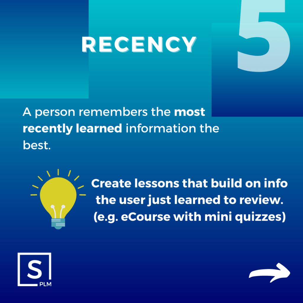 law of recency for plm training