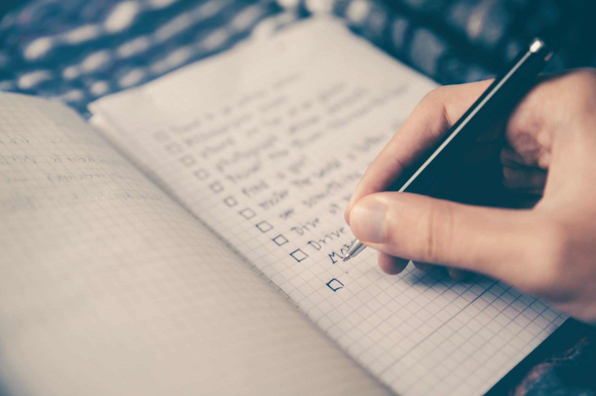 writing in a notebook plm training
